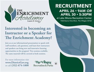 The Enrichment Academy Instructor & Speaker Recruitment